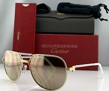 Cartier Première Sunglasses CT0053S 003 Gold White Leather Gold Polarized 61mm