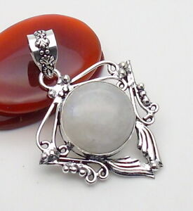 Moonstone Gemstone Jewellery Pendant 925 Silver OVERLAY Hand Made 48mm