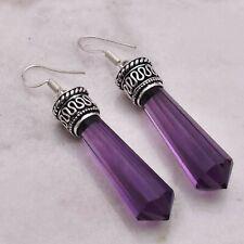 """Amethyst  Handmade Drop Dangle Earrings Jewelry 2.28"""" AE 55002"""
