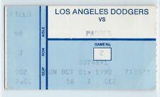 Ramon Martinez 20th win of season ticket stub; Padres at Dodgers 10/1/1990