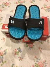 New Balance Rev II Slide Black Blue Women Sandal Size 7