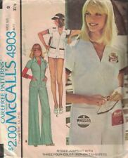 McCall's 4903 Misses Zipper Front Jumpsuit Sz 8 in 2 Lengths Mini Vintage 1976