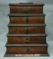 "11"" Old Chinese Huanghuali Wood Carved Drawer Pagoda Handle Storage Jewelry Box"