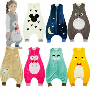 Soft Baby Girls Kids Boys Animal Sleeping Bags with feet 1-7 years Warm