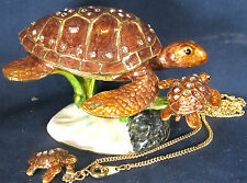 Sea Turtle w/baby in Coral Jeweled Pewter Trinket Box w/ Necklace Sea Life