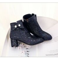 Womens Fashion Glitter Sequins Bowknot Round Toe Ankle Boots Pumps High Heels