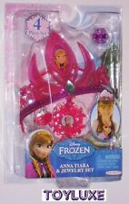 Disney Frozen Anna TIARA & JEWELRY SET 4 pc Costume Crown Dress Up Necklace Ring