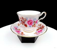 """QUEEN ANNE #8521 PINK ROSES AND LEAVES 2 3/4"""" FOOTED CUP AND SAUCER SET"""