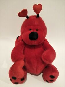 Russ Berrie Bugsly Bright Red Love Bug Soft Plush Toy 27cm's New