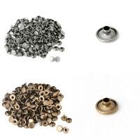 100x Doppelkappe Niet Tubular Metal Leder Craft Reparaturen Studs Punk Spike Neu