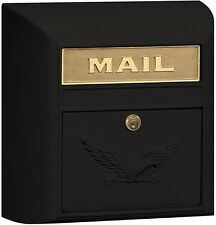 Lockable Mailbox Lock Door Black Metal Modern Surface Mounted Letter Holder Home