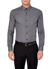 "REMUS UOMO Spotted Fashion Shirt/Charcoal - 17"" (Large/Extra Large) Slim Fit"