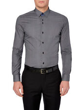 "REMUS UOMO Spotted Fashion Shirt/Charcoal - 16.5"" (Large) Slim Fit"