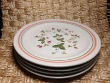 "Xiangtangpai 4 Salad Plates 7.5"" Strawberries center 2 rim rings - Green & Peach"