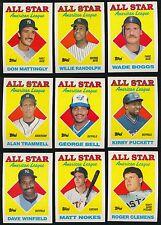1988 Topps All-Star Set 386-407 Tony Gwynn Kirby Puckett Wade Boggs Ozzie Smith