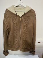 Weird fish mens cable Aaron knit chunky fleece lined cardigan jacket XL hood