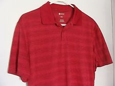 Mens HAGGAR Clothing Lightweight Red Striped Polo Shirt Size S