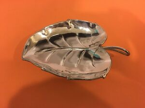 Vintage Silver Plated Leaf Tray Dish Candy Bowl India