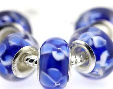 5PCS Silver Murano Lampwork Glass Beads fit European Charm Bracelet IL88