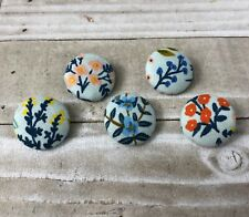 "5 Vtg Nos Cloth Fabric Covered Shank Buttons 7/8""Blue Pink White Floral Flower"