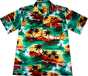 Hawaii Hemd Sunrise in Paradise 2XL+3XL 100%Baumwolle Hawaiihemd Hawaihemd grün