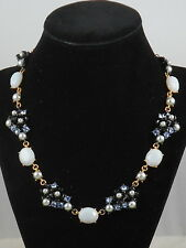 Kate Spade Gold Blue PRECIOUS PETALS Faux Pearl Crystal Flower Collar Necklace