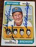 1974 TOPPS BREWERS MANAGER CARD SIGNED BY 3 DEL CRANDALL HARVEY KUENN NOSSEK 99