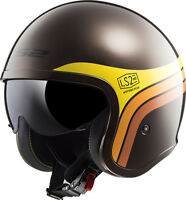 LS2 OF599 SPITFIRE SUNRISE BROWN RETRO OPEN FACE LOW PROFILE MOTORCYCLE HELMET
