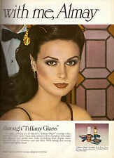 1979 Almay Tiffany Glass Cosmetics Makeup Print Ad Sexy Brunette Vintage 1970s