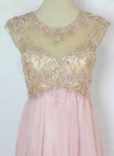 $190 Sleeveless Long Gown Formal Masquerade New Dress Long Peach Evening Size 3