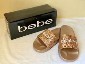NEW! BEBE FRAIDA ROSE GOLD GLITTER SLIP-ON SLIDES SANDALS SLIPPERS 8 38 SALE