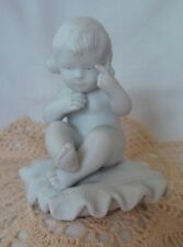 """Antique FRENCH SEVRES STYLE Bisque Parian Grouping """"Child On Pillow"""" Figurine"""
