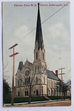 Old postcard FLETCHER PLACE M.E. CHURCH, INDIANAPOLIS, INDIANA, 1908
