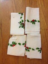 LOT OF 4 VINTAGE WHITE CHRISTMAS NAPKINS WITH HOLLY+BONUS NOEL CURTAIN