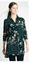 NEW M&S COLLECTION NAVY Floral Print Longline Long Sleeve Shirt
