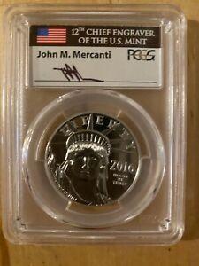"2016-W $100 1 oz. ""Platinum"" Statue of Liberty PCGS PR70DCAM ""Mercanti"" Signed"