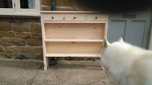 H90 W100 D20cm BESPOKE CONSOLE TABLE 3 DRAWERS 2 SHELVES BOXED UNIT UNTREATED