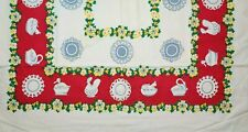 """New listing Vintage 1950s Printed Floral Cotton Table Cloth Yellow Flowers Red Trim 48"""" x 50"""