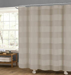 "Taupe Fabric Shower Curtain: Wide Stripe Design, 70"" x 72"""
