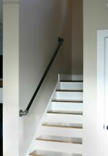 Industrial Hand Rail - Stair Banister with Brackets - Made from Pipe Fittings