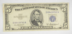 RARE - Crisp 1953-A - Silver Certificate $5 Blue Seal $5 Higher Grade! *081