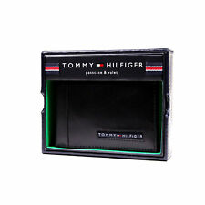 Tommy Hilfiger Leather Wallet Billfold Credit Card Passcase Black