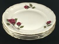 """Set of 4 Royal Kent RED ROSES Flower 6 3/4"""" Bread and Butter Plates Poland"""