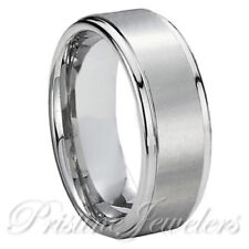 NEW Titanium Silver Men's Brushed Matte Engagement Wedding Band Promise Ring 8mm