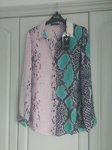 BNWT Guess ASOS Pink Snake Print Shirt Blouse Sequin Collar Size M 10 12