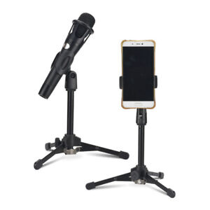 Small Desk/Table Top Microphone Stand Mic Tripod Clip Holder Foldable BGLE
