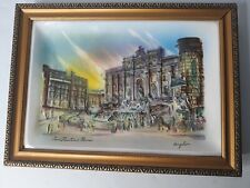 Vintage Angelo Signed Trevi Fountain Rome Ceramic Relief Painting Japan Framed