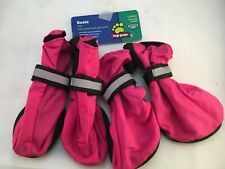 Set of 4 Dog Boots Size L Hot Pink Rubber Soles, Water-resistant, Adj. straps