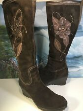 ALDO Womens Knee High Brown Suede Leather Boots Floral Design Size 7 /38