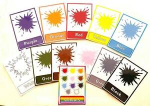 Learn COLOURS - flash cards - Laminated wipe clean - EYFS